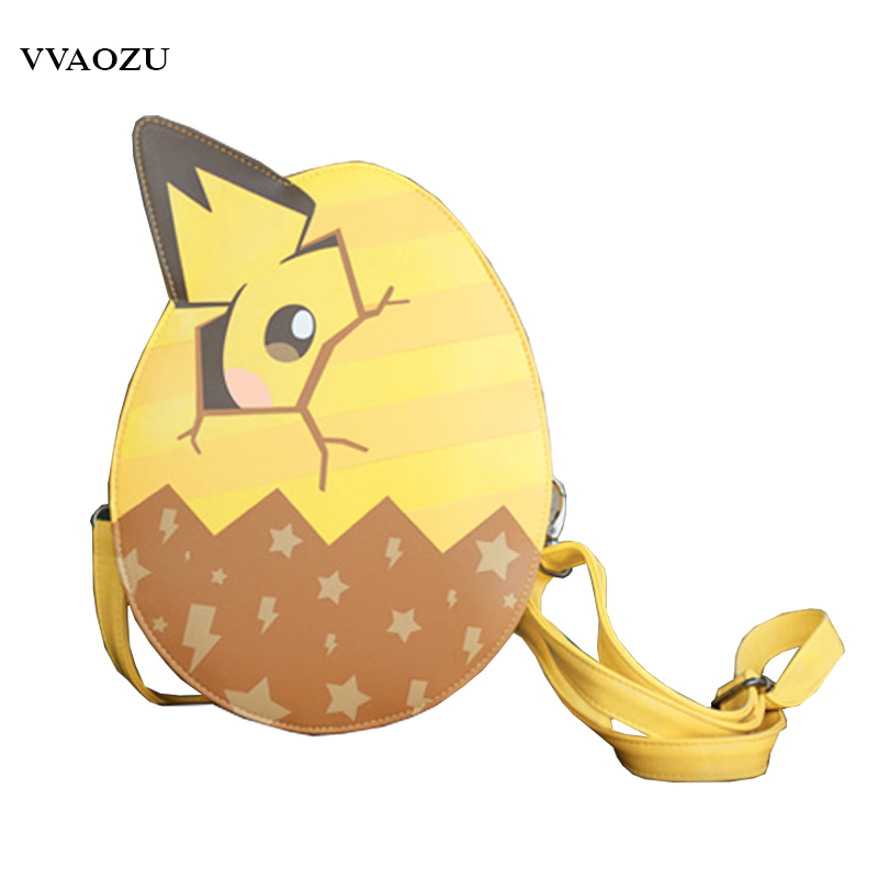 Pocket Monster Pokemon Pikachu Egg Style Messenger Bag Harajuku Anime Cosplay Crossbody Shoulder Bags for Girls japan pokemon harajuku cartoon backpack pocket monsters pikachu 3d yellow cosplay schoolbags mochila school book bag with ears
