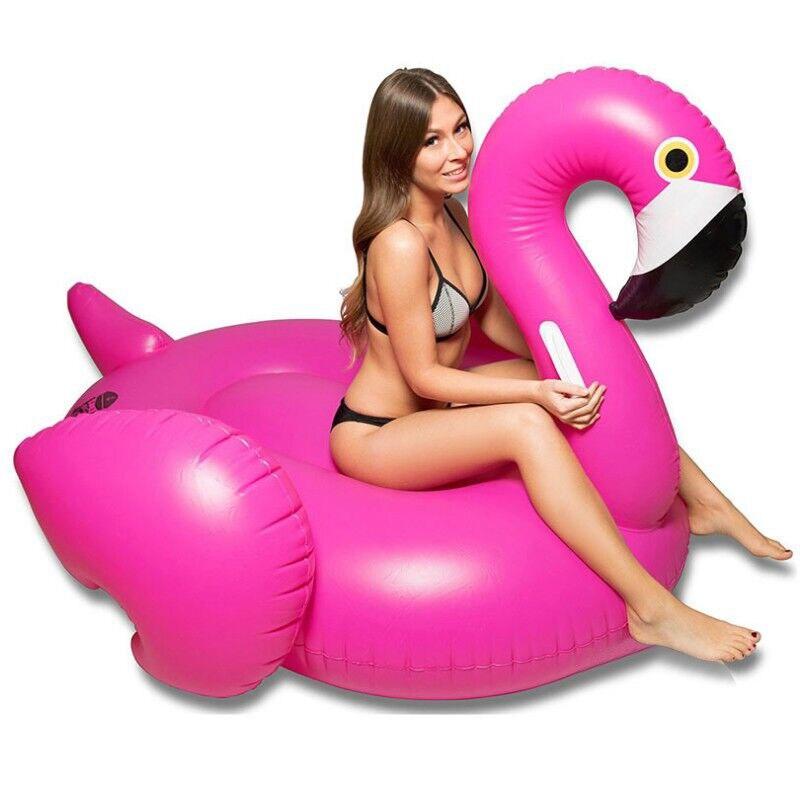 Flotteur gonflable géant de piscine de flamant Rose pourpre de 150 cm 2019 anneau de natation de Ride-on d'or de Rose jouets de partie de l'eau matelas d'air boia