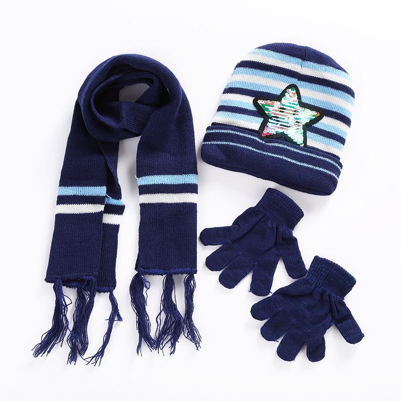 Sequined five-pointed star baby hat scarf gloves three-piece set warm autumn and winter children's hats scarf gloves sets(China)