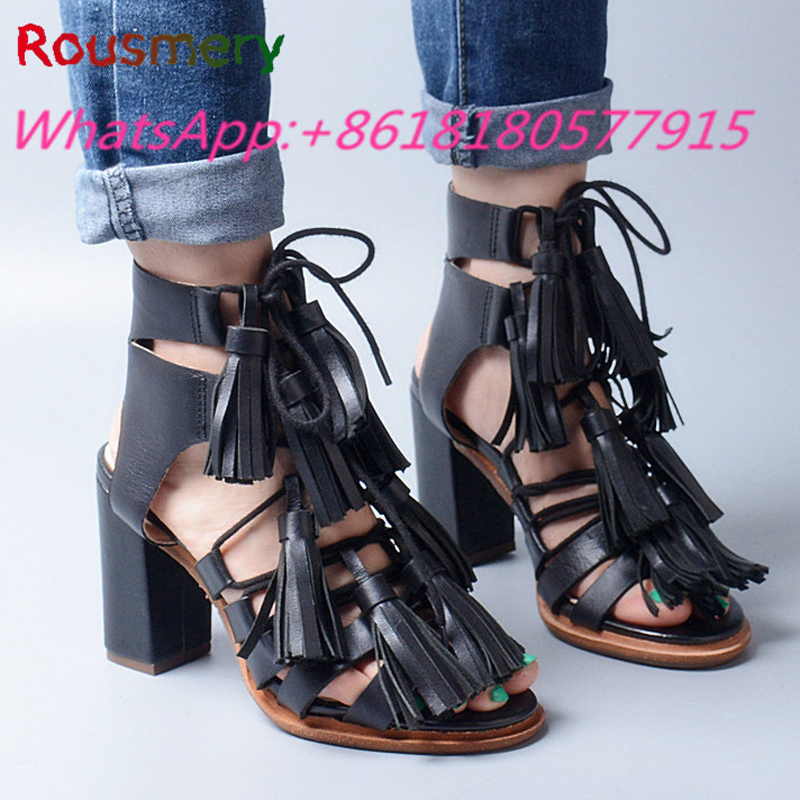 Fashion Superstar Same Paragragh Chunky High Heels Woman Sandals Summer Catwalk Fringe Gladiator Lace-Up Zapatos Mujer Tacon