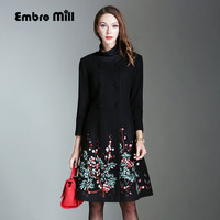 Vintage royal embroidery Winter wool overcoats woman double breasted elegant plus size slim lady windbreaker trench coat M 4XL