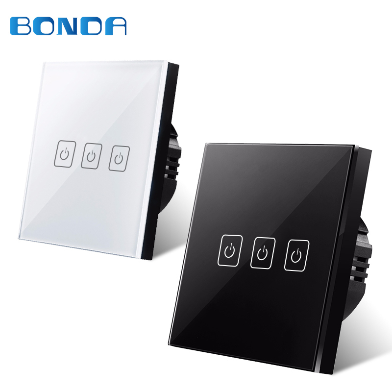 EU/UK Standard BDNOA Touch Switch 3 Gang 1 Way,Wall Light Touch Screen Switch,Crystal Glass Switch Panel, Lamp Touch Switch eu sandard wall switch 1 gang 1 way toughened crystal glass panel touch switch 110 250v touch screen wall light switch