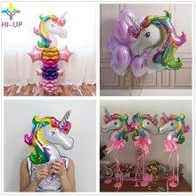 3pcs/lot 33*39 cm Rainbow Unicorn Party Supplies Foil Balloons Cartoon Animal Horse Float Globe Birthday Weding Decoration