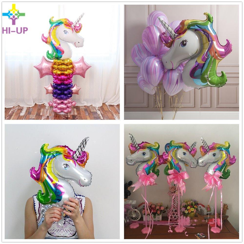 3pcs/lot 33*39 cm Rainbow Unicorn Party Supplies Foil Balloons Cartoon Animal Horse Float Globe Birthday Weding Party Decoration