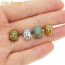 Julie Wang 2-20 PCS Buddha Head Beads Bracelet Alloy Separated Charms Necklace Pendant Anklet Jewelry Making Accessory