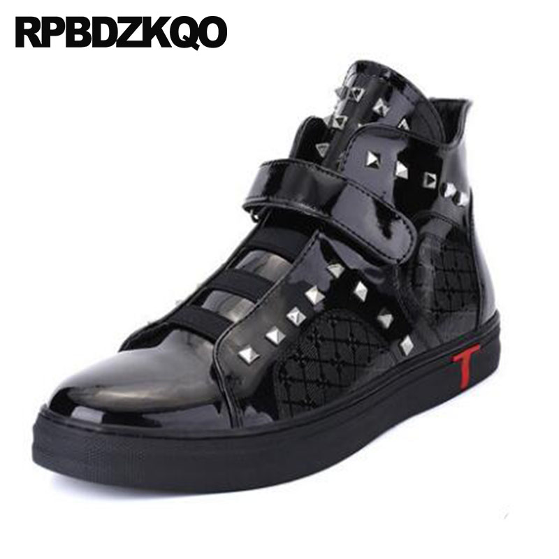 Trainer Metalic Flat Punk High Top Mens Black Patent Leather Boots Booties Rivet Sneakers Korean Ankle Stud Gold Shoes Silver woden woden ydun metalic sneakers 273621140