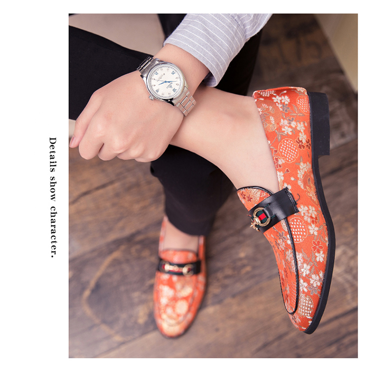 2019 New Brand Formal Shoes Men Leather Shoes Flower Embroidery Slip On Lazy Driving Shoe Office Loafers Mens Canvas Shoes 10