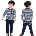 Spring Autumn Baby Boys Girls 2pcs Clothes Sets Navy Blue Long Sleeve Stripe T Shirt Tops Pants Children Suits Toddlers Outfits