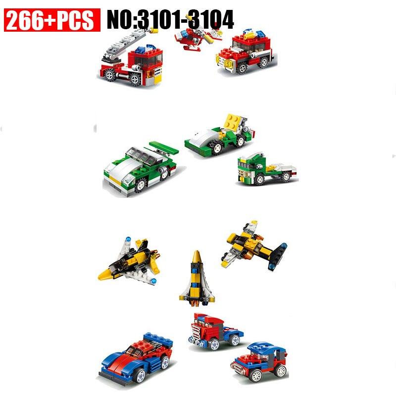 NEW 1/3 Creator mini car Fit for legoinglys city techinc for minifigure Mini Fire Rescue Speed Race Car Building Blocks Toys