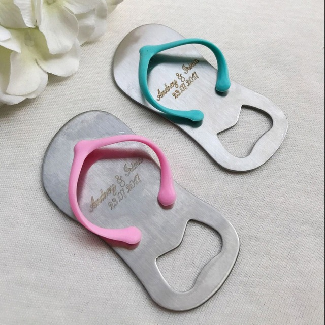 12748b2a2e14f 50pcs Personalized Sandal Slipper Beer Bottle Opener Wedding Favors Custom  Bride   Groom Name Gifts