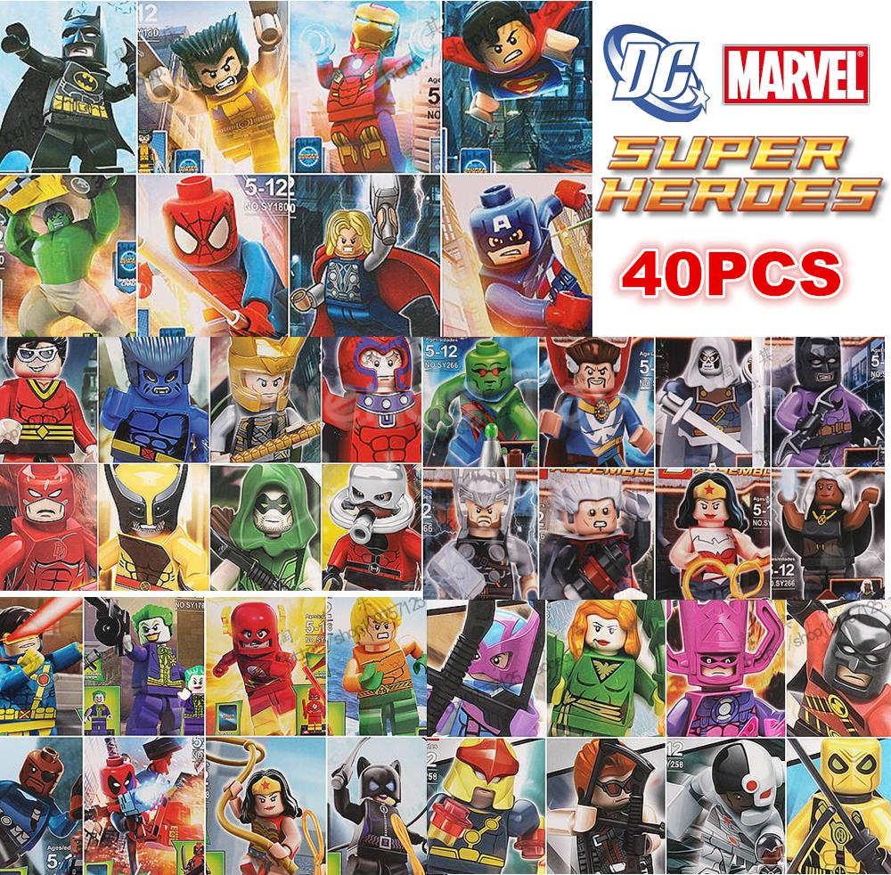 40 Characters Marvel DC Super Heroes Batman Hulk The Avengers Figure Building Blocks Minifigure Toys Gift Lepin