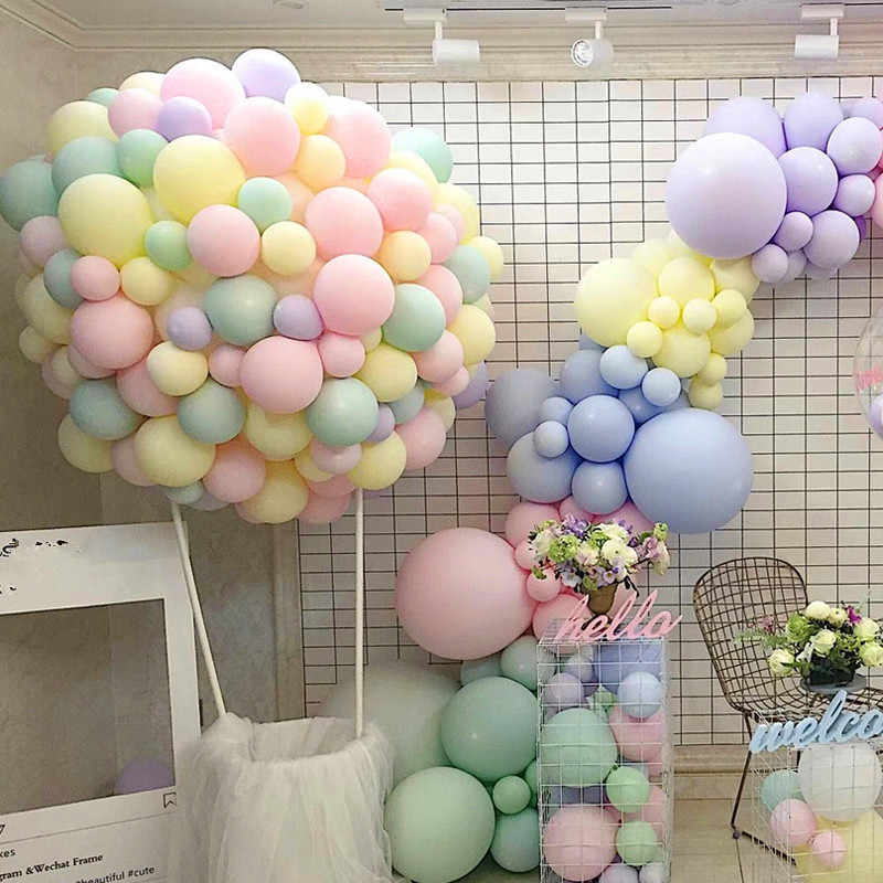 10pcs 12inch 5inch Macaron Black Air Balls Happy Birthday Helium Latex Balloon Decoration Wedding Festival Balon Party Supplies