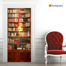 LumiParty 2pcs DIY Retro Bookcase Creative Waterproof PVC Door Sticker Decal Decor Poster 38.5x200cm-30