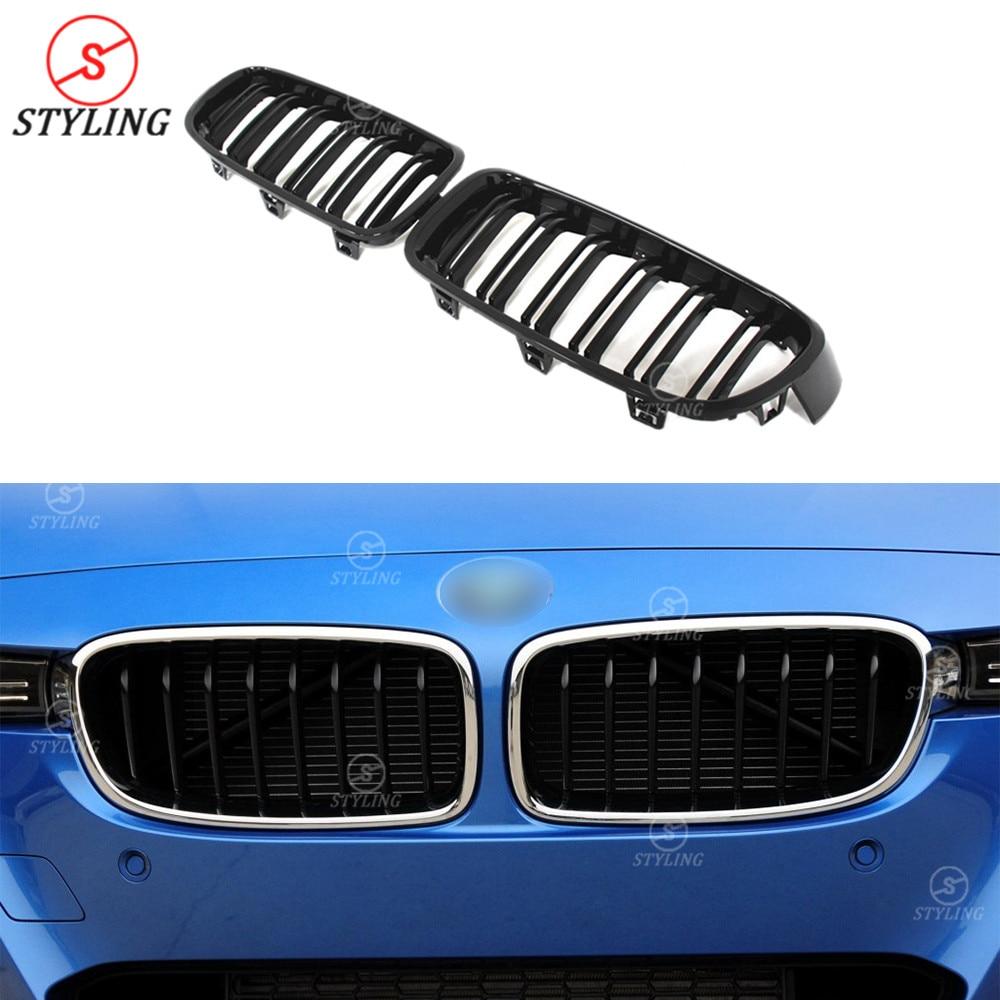 Pour BMW F30 calandre ABS & plastique pare-choc avant brillant à lèvres noir & 3 couleurs double latte série 3 F30 calandre avant 2012-2018 2019