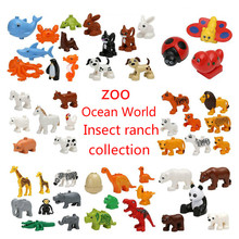 20 шт./компл. Duplos животных модель фигурки строительные блоки наборы Аниме Модель Рисунок игрушки Совместимость Legoinglys игрушки для детей, подарки для детей