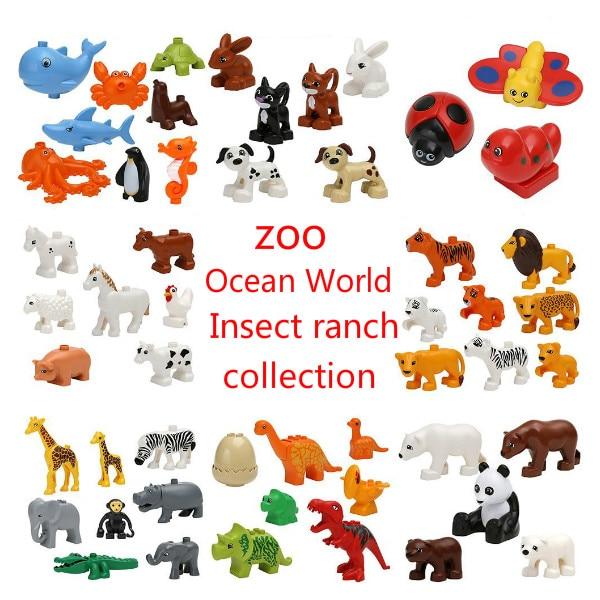 20pcs/set Duplos Animal Model Figures Building Block Sets Anime Model Figure toys Compatible Lepining toys for children Gifts