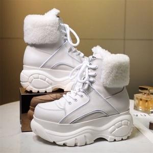Image 5 - الشتاء موضة الأبيض أحذية نسائية عادية جلد طبيعي منصة رياضية عالية أعلى أحذية نسائية جديدة مريحة الصوف الأحذية الدافئة