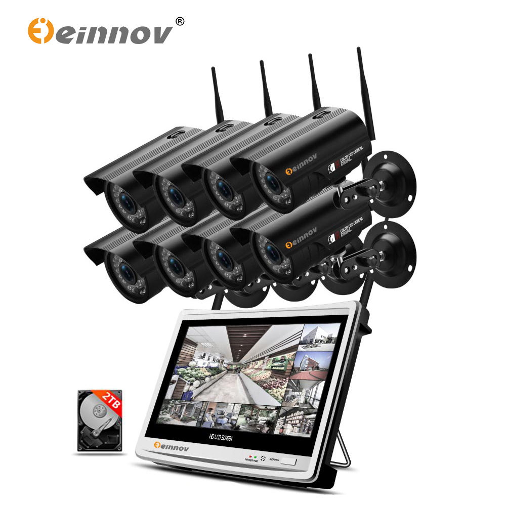 Einnov 12 LCD NVR CCTV 2MP Home Wireless Security Camera System 8CH Outdoor Wifi Video Surveillance