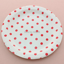 24pcs 9  Biodegradable Birthday Christmas Red Polka Dot Disposable Paper Plates Round Party Dessert Paper  sc 1 st  AliExpress.com & Buy biodegradable plates and get free shipping on AliExpress.com