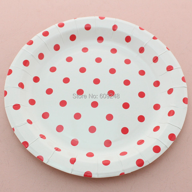 24pcs 9\  Biodegradable Birthday Christmas Red Polka Dot Disposable Paper Plates Round Party Dessert Paper & 24pcs 9\