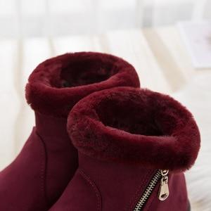 Image 4 - Zip kış kadın kar botları kaymaz kalın sıcak yarım çizmeler kadın moda orta yaşlı anne kış pamuklu ayakkabılar ucuz