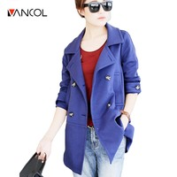 Vancol 2016 Autumn New Korean Fashion Solid Color Cotton Long Paragraph Slim Female Coat Thin Waist