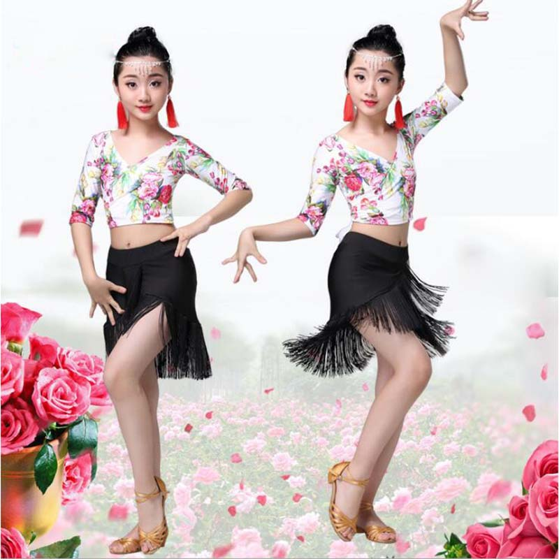 New Flower Latin Dresses Samba Latin Girls Children Kids verkleed kostuum heren latin dance competition dress Costume Suit