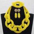 2016 Estilo Único Amarillo/Azul Juegos de Cristal Nigeriano Boda Africana Nupcial/de Las Mujeres Collar de Perlas de Set Envío Libre ANJ214