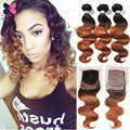 10A Ombre Body Wave With Closure Queen Weave Beauty Peruvian Virgin Hair Body Wave 1B 27.1B 30 Ombre Peruvian Hair With Closure