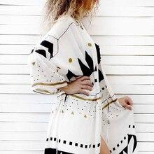 Женское пляжное платье парео, Свободное длинное пляжное платье с принтом, пляжный кардиган, купальный костюм, Пляжная накидка, 2020