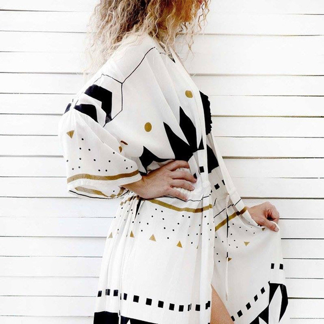 Swimsuit Cover Up 2020 Women Pareo Beach Dress Wears Print Loose Long Dress Beach Cardigan Bathing Suit Beach Cover Ups