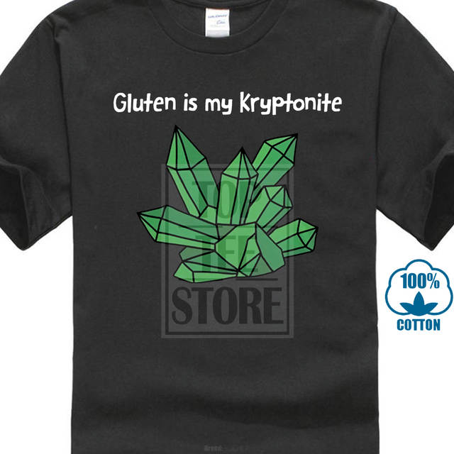 Leqemao Summer Short Sleeves Cotton T Shirt Gluten Is My Kryptonite Black  Adult T Shirt