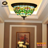 Makenier Vintage Tiffany Style Stained Glass Green Stripes Flower Flush Mount Ceiling Lamp 12 Inches Lampshade