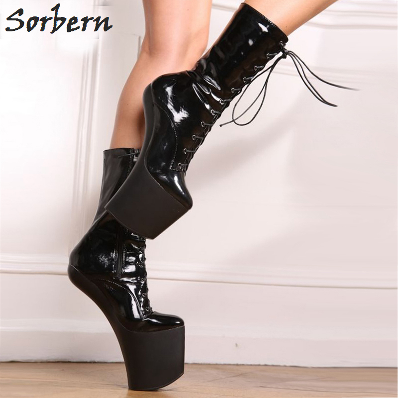 Sorbern Sexy Hoof Heel 20cm Fetish Boots Mid-calf Women Shoes 9cm Platform High Heels Shiny PU Halloween Vamp Plus Size 34-46 double buckle cross straps mid calf boots