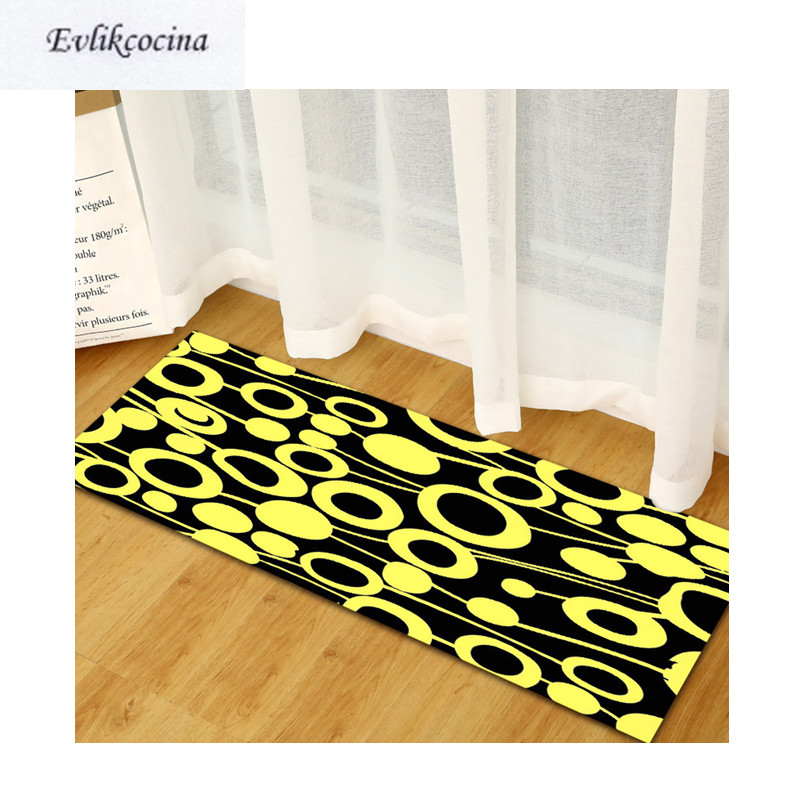 Free Shipping Yellow Circles Black Tapis Salon Absorbent Bath Mat Area Rug For Living Room Bedroom Floor Carpet Tapete Infantil