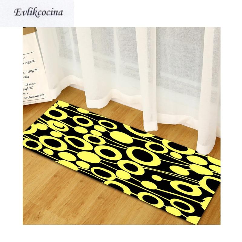 Free Shipping Yellow Circles Black Tapis Salon Absorbent Bath Mat Area Rug For Living Room Bedroom Floor Carpet Tapete Infantil
