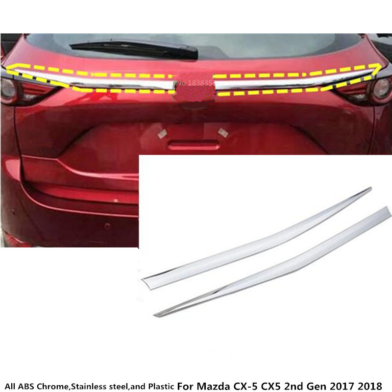 For Mazda CX 5 CX5 2nd Gen 2017 2018 car styling cover detector ABS chrome Rear door Tailgate frame plate trim lamp parts 2pcs