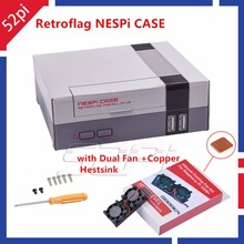 Auf Lager! 52Pi Retroflag NesPi Fall Mini NES FALL mit Dual Doppel Fans kühlung kühlkörper für RetroPie Raspberry Pi 3/2/B +