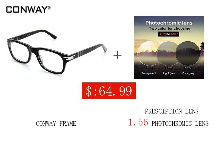 CONWAY 2017 tous fit femmes lunettes de vue en verre cadres pour hommes couleur noire CN00040302 Prescription lunettes optiques lunettes