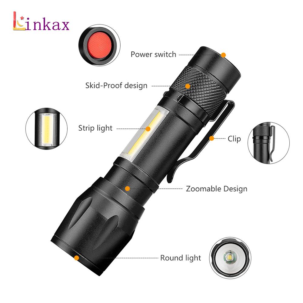 XPE COB LED Pocket Light Inspection Work Light Torch Flashlight Zoom Focus New
