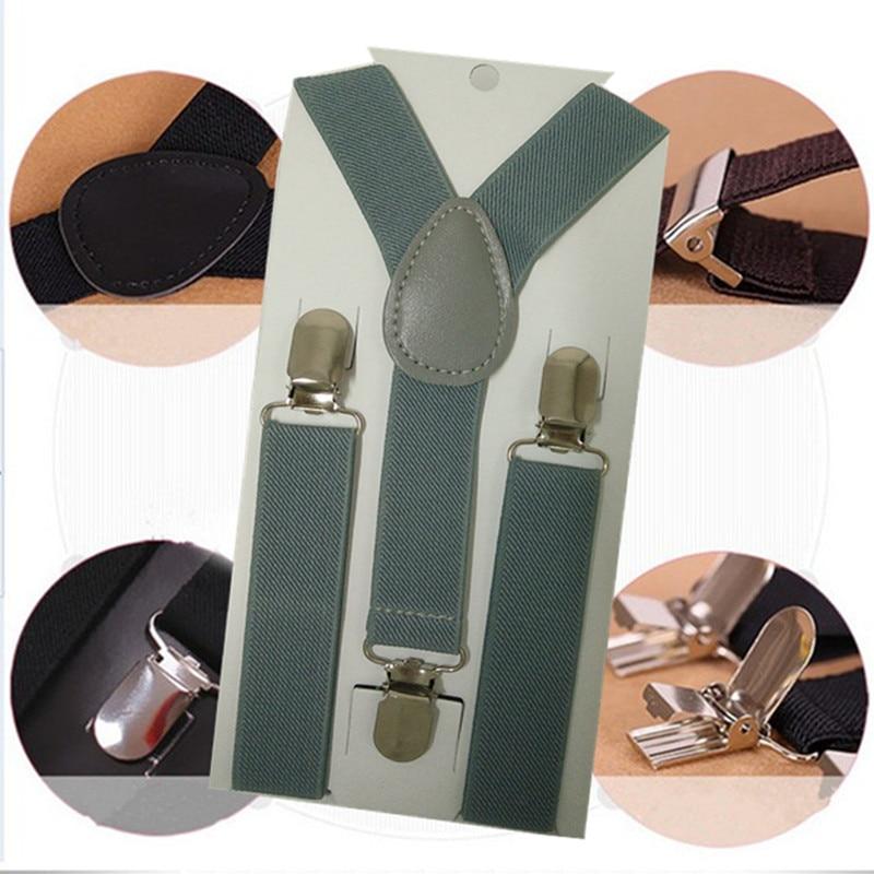 BD001-Light gray High Elastic Solid Color Kid Suspenders baby Accessories y boy Girl Children Suspender Baby brace 3 clips on