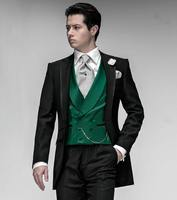New Groom Tuxedos Notch Lapel Best Man Suits Prom Men's Wedding Suits Green Vest Prom Custom Made Suits A0130