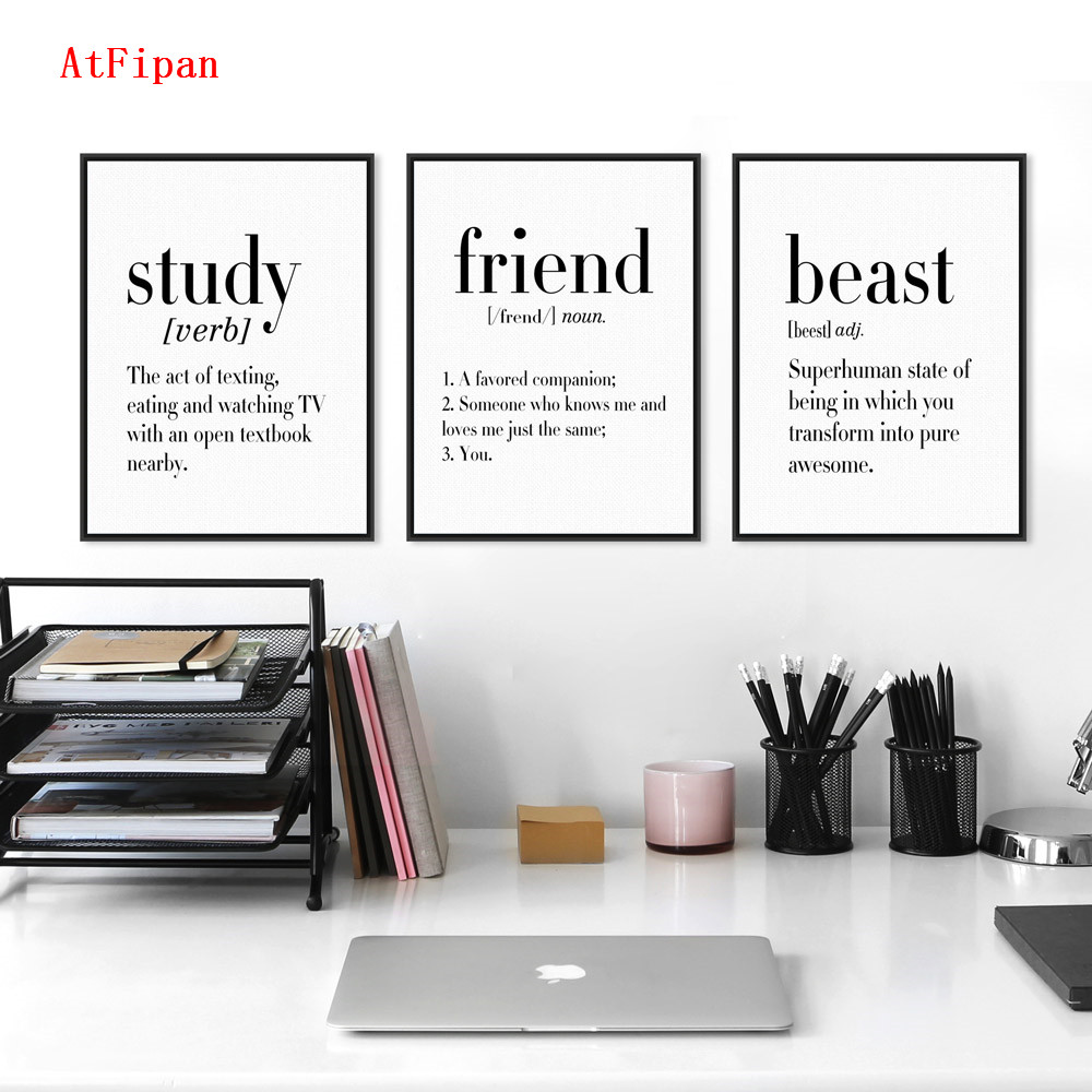 AtFipan Modern Black White Friend Dad Mother Quotes A4 Poster Unframed Canvas Painting For Offices Room
