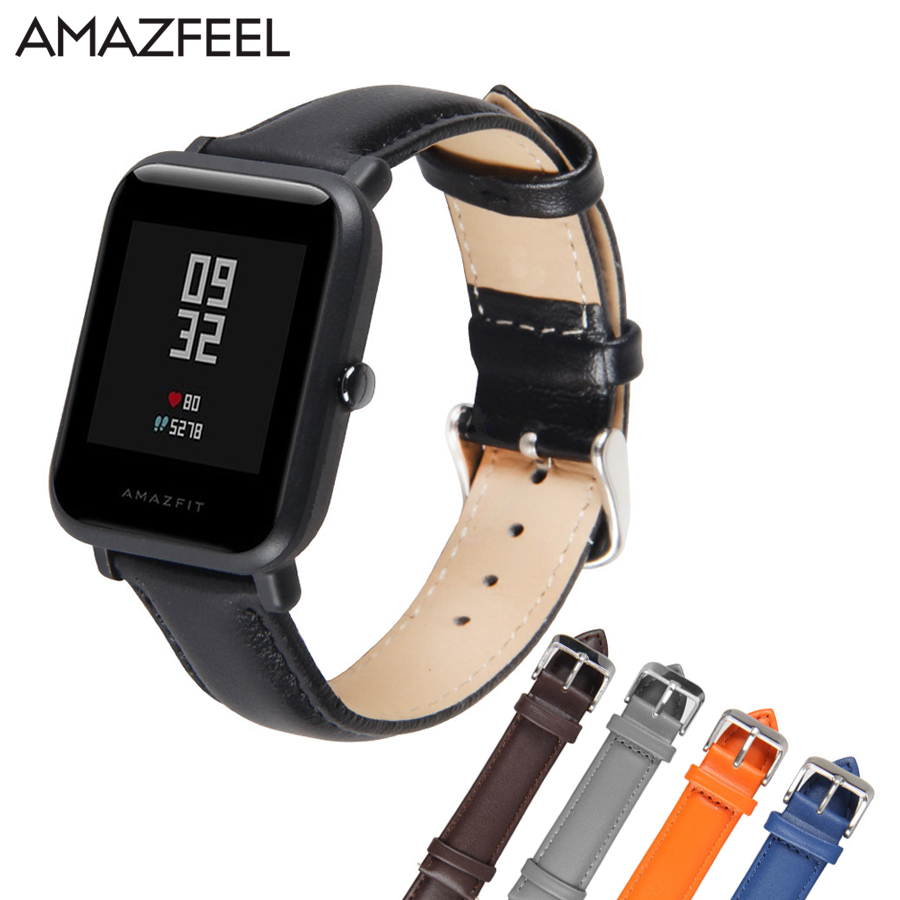 Replace for Amazfit Strap Leather 20mm for Xiaomi Huami Amazfit Youth Wrist Band Strap Amazfit Bit Youth Smart Watch Bracelet