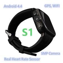 """ดีเอชแอฟรีเรือS1 3กรัมหุ่นยนต์4.4โทรศัพท์นาฬิกาสมาร์ทMTK6572 Dual Coreซิม1.54 """"IPS 512เมกะไบต์+ 4กิกะไบต์5MPกล้องอัตราการเต้นหัวใจดูสมาร์ท"""