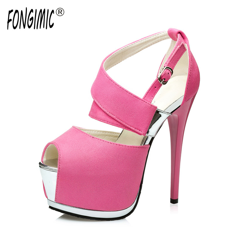 Fongimic Spring Women Style Thin High Heels Shoes High Quality Peep Toe Waterproof Platform Pumps Women Party Sexy Flock Sandals цена и фото