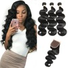 7A Brazilian Virgin Hair Weave Bundles With Closure Body Wave 3 Bundles With Closure Unprocessed Human Hair With Lace Closure