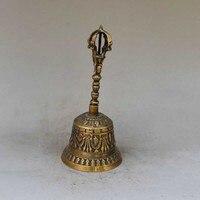 Kostenloser versand Old Tibetischen Buddhismus tempel Exorzismus silber bösen Buddha Kwan-yin Glocke statue