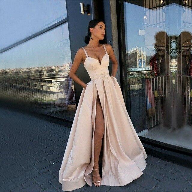 Длинные простое вечернее платье 2019 г. пикантные для любимых с декольте Атлас цвета шампана Для женщин вечерние платья с карманом вечернее платье