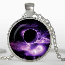 2017 new hot Purple moon Pendant Full Moon Necklaces Space Moon Pendant Lunar Nebula Pendant Silver Plated Universe Jewelry HZ1(China)